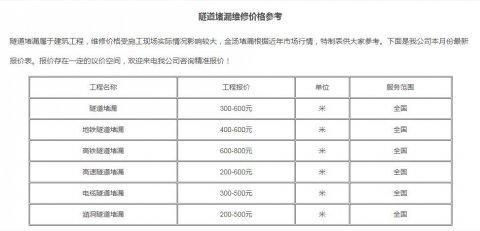 隧道防水堵漏工程价格【本月最新】